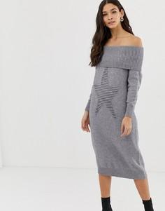 Платье-джемпер миди с открытыми плечами Liquorish - Серый