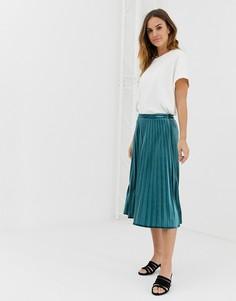 Плиссированная юбка миди Naf Naf - Зеленый