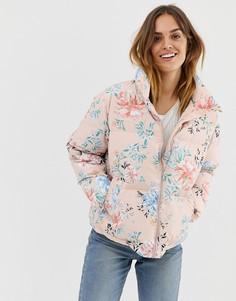 Дутая куртка с очаровательным цветочным принтом Naf Naf - Розовый