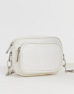 Белая фактурная сумка через плечо Bershka - Белый
