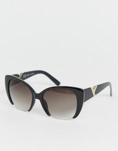 Большие черные солнцезащитные очки кошачий глаз River Island - Черный