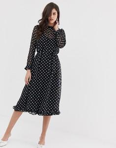 Прозрачное платье миди в горошек Y.A.S - Черный