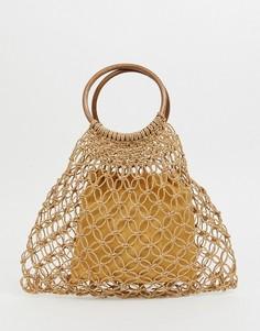 Плетеная сумка с деревянными ручками South Beach - Бежевый