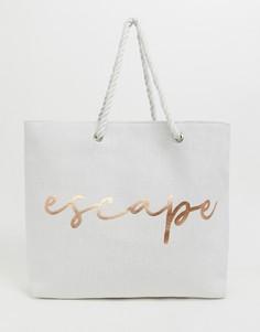 Пляжная сумка с надписью escape South Beach - Белый