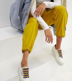 Белые массивные кроссовки с разноцветными шнурками Superga 2790 - Белый