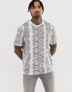 Свободная футболка со змеиным принтом Another Influence - Серый