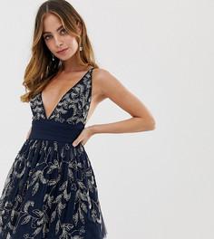 Темно-синее платье мини для выпускного с перекрестом на спине и отделкой Dolly & Delicious Petite - Темно-синий
