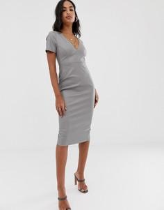 Платье миди из искусственной кожи ASOS DESIGN - Серый