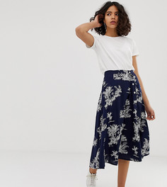 Чайная юбка миди с пальмовым принтом Native Youth - Темно-синий
