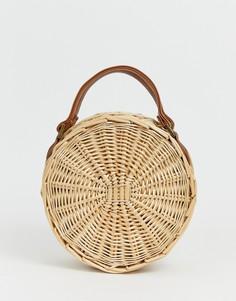 Круглая соломенная пляжная сумка с ремешком через плечо South Beach - Бежевый