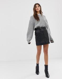 Кожаная юбка с ремнем Lab - Черный