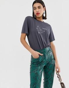 Свободная футболка с принтом Neon Rose - Черный