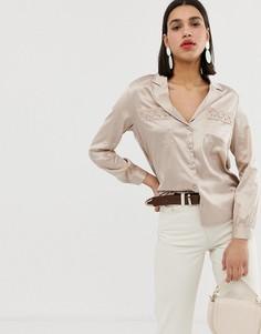 Атласная блузка в винтажном стиле с ажурной отделкой Neon Rose - Кремовый