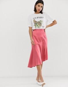 Атласная юбка миди с асимметричным подолом Neon Rose - Розовый