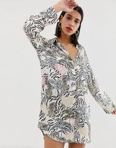 Свободное платье-рубашка с принтом Neon Rose - Кремовый