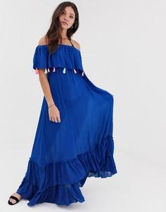 Пляжное платье с открытыми плечами и принтом тай-дай Anmol - Синий