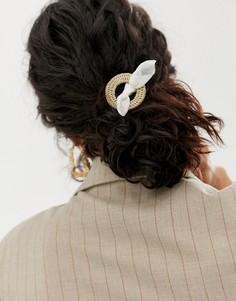 Повязка на голову с незамкнутым кольцом и бантом кремового цвета ASOS DESIGN - Мульти