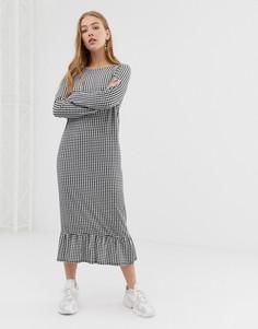 Свободное платье в клетку с длинными рукавами и баской Daisy Street - Черный