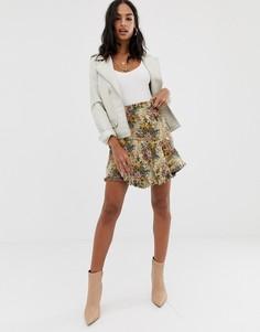 Жаккардовая юбка с необработанным краем Missguided - Мульти
