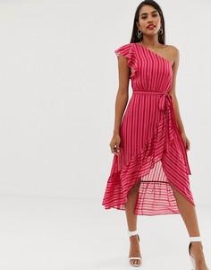 Платье миди на одно плечо в полоску Talulah - Розовый