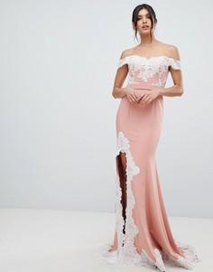 Платье макси с кружевной отделкой и разрезом Forever Unique - Розовый