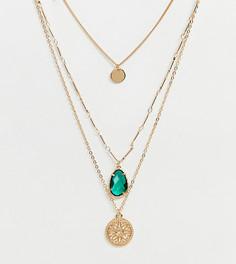 Золотистое многоярусное ожерелье с подвесками и зеленым камнем ALDO Unaellan - Золотой