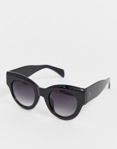 Черные солнцезащитные очки кошачий глаз в толстой оправе AJ Morgan - Черный