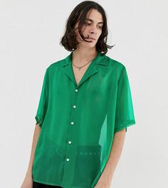 Зеленая рубашка с отложным воротником Reclaimed Vintage inspired - Зеленый