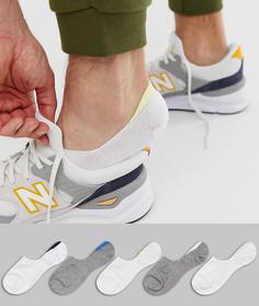 Набор из 5 пар невидимых носков белого цвета с отделкой ASOS DESIGN - Мульти