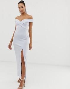 Платье макси с широким вырезом Club L - Синий