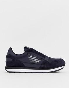 Темно-синие замшевые кроссовки с логотипом Emporio Armani - Темно-синий