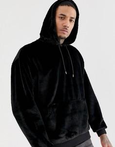 Oversize-худи черного цвета из искусственного меха ASOS DESIGN - Черный