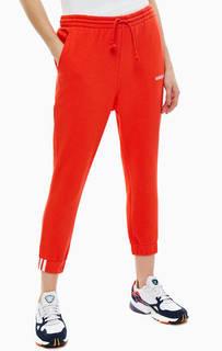 Хлопковые брюки джоггеры красного цвета Adidas