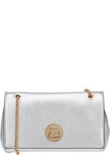 Серебристая кожаная сумка с карманами Liya Coccinelle
