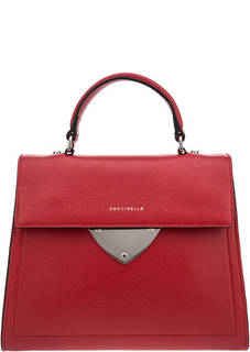 Красная кожаная сумка с откидным клапаном B14 Coccinelle