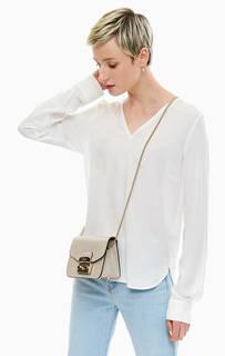 Белая блуза с треугольным вырезом Marc Opolo