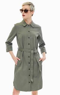 Хлопковое платье-рубашка с поясом и карманами Marc Opolo