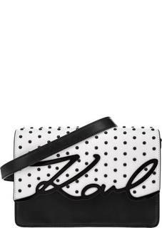 Белая кожаная сумка с металлической отделкой Karl Lagerfeld