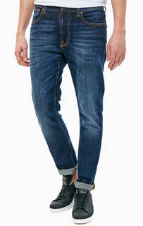 Зауженные джинсы синего цвета Lean Dean Nudie Jeans