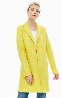 Шерстяное пальто желтого цвета на пуговицах Marc Opolo