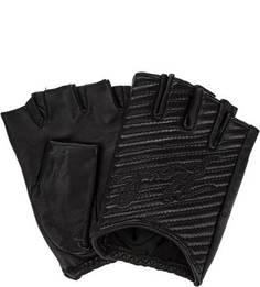 Кожаные митенки с вышивкой Karl Lagerfeld