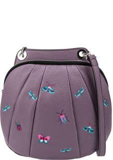 Кожаная сумка через плечо с вышивкой Curanni
