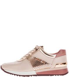 Кожаные кроссовки розового цвета на шнуровке Michael Kors