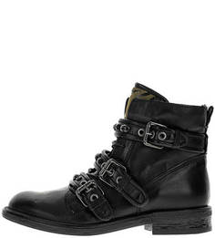 Черные кожаные ботинки с отделкой камнями Mjus