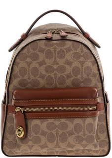 Городской рюкзак коричневого цвета с одним отделом на молнии Coach