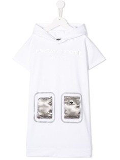 Jeremy Scott Junior платье с капюшоном и атласными карманами