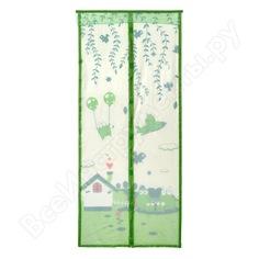 Противомоскитная сетка-штора на дверь с рисунком, магнитами и крепежом, 45х210 см, 2шт help 80006