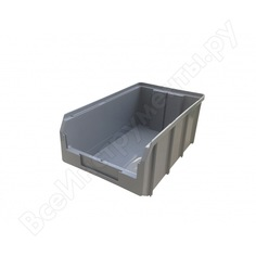 Пластиковый серый ящик 341х207х143мм стелла v-3