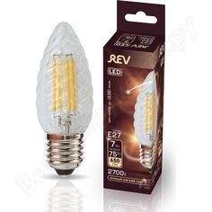 Светодиодная лампа rev filament свеча витая, tc37, e27, 7w, 2700k, deco premium 32427 0