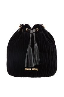 Черная бархатная сумка-ведро Miu Miu